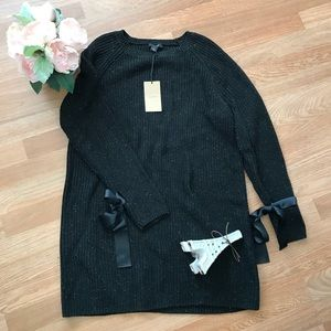NWT halogen sweater dress with bow tie at sleeves